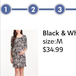 Lilac Clothing Dresses - Black and White Shift Maternity Dress
